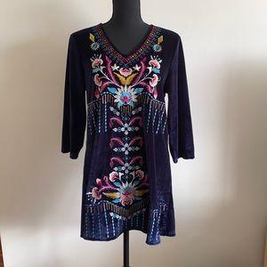 Mislook Velvet Embroidered Floral Shirt Dress Medium Pre Owned EC